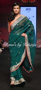 Emerald Green Pure Georgette Saree