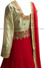 Floor Length Red and Beige Kalidar Dress