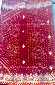 Geometric Design Border Bandhej Saree Red
