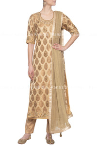 Rich pure brocade golden Zardozi suit set