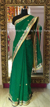 Gorgeous Green Leheriya Saree in Fine Gota Work