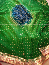 Green Bandhej Saree with Beautiful Butta