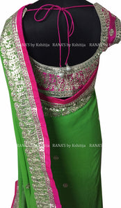 Green Fine Gota Handworked Saree - Rana's by Kshitija