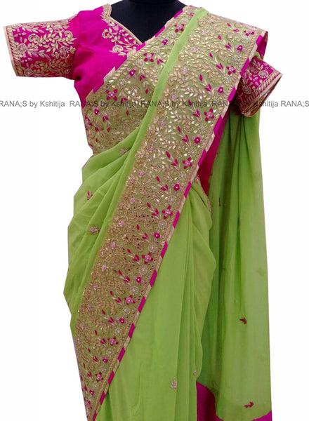Green Saree with Ribbon Work
