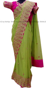 ranas-by-kshitija-green-saree-with-ribbon-work