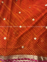 ranas-by-kshitija-red-yellow-leheriya-saree-with-fine-gota-work