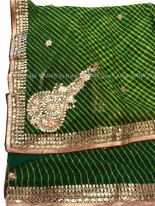 ranas-by-kshitija-green-leheriya-saree-with-beautiful-buttas