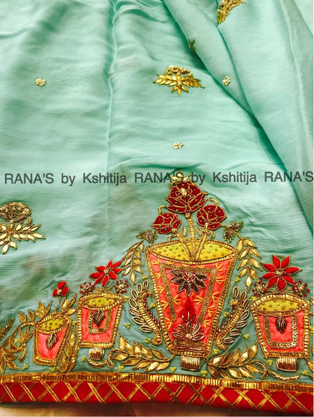 Mint Blue New Designer Saree