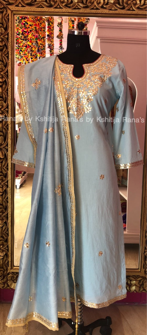 Fine Gota Worked Pastel Blue Salwar Suit