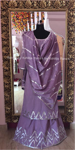 Vivacious Purple Gota Plazzo Dress Set