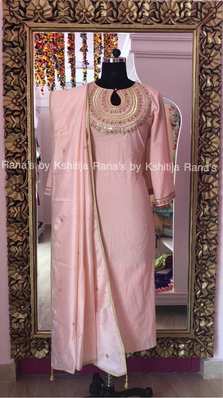 Designer Rich Neckline Worked Pink Salwar Suit