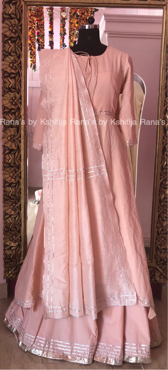 Exotic Pink Asymmetric Kurta and Flared Plazzo Dress Set