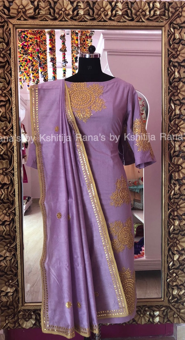 Pretty Pastel Purple Salwar Suit - Rana's by Kshitija
