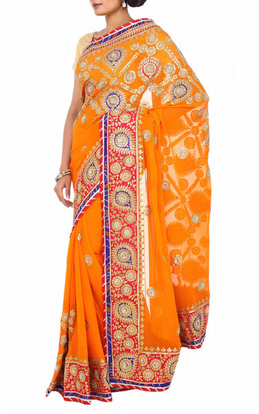 Tangy orange gota work saree