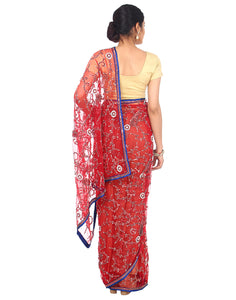 Radiant Red Jaal Handwork Saree - Rana's by Kshitija