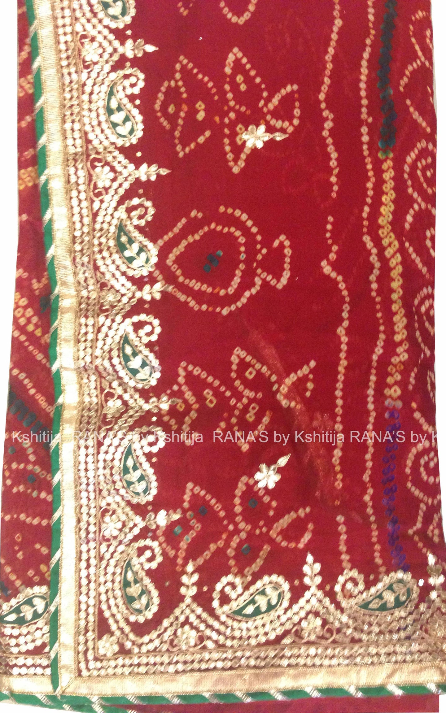 Keri Design Red Bandhej Saree - Rana's by Kshitija