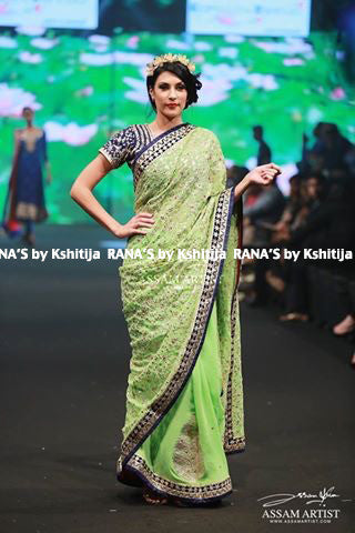 Lime Green Jaal Butta Designer Saree