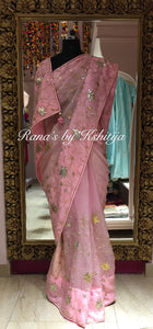 Lotus Jaal Handworked Saree in Pure Organza - Rana's by Kshitija