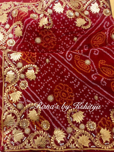 Lotus design pure georgette bandhani saree