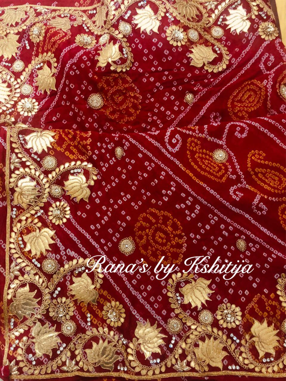 Lotus design pure georgette bandhani saree - Rana's by Kshitija