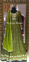 An exquisite lotus green designer floor length dress - Rana's by Kshitija