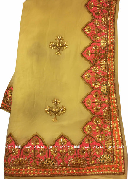 Designer Yellow Danka Saree
