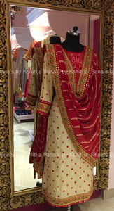 Marodi and Mirror Handworked Pure Silk Salwar Suit Set