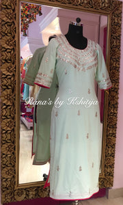 Mint Green Handworked Pure Cambric Kurti