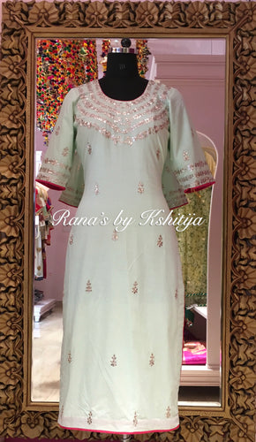 Mint Green Handworked Pyre Cambric Kurti
