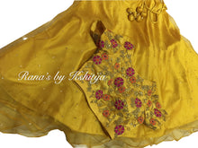 Mustard Crop Top and Skirt Set in Handwork