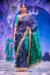 Ombre Silk Saree with Sippi and Zardozi Work