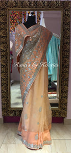 Pure organza saree with fine gota jaal handwork - Rana's by Kshitija