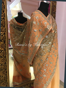 Pure organza saree with fine gota jaal handwork