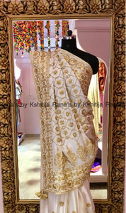 Regal White Jaal Worked Golden Saree
