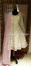 Pale Yellow Anarkali with Pink Dupatta