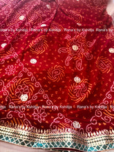 Pallu Jaal Bandhej Saree Red - Rana's by Kshitija