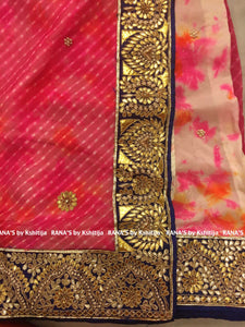 Leheriya and Marble Dyed Half Half Saree