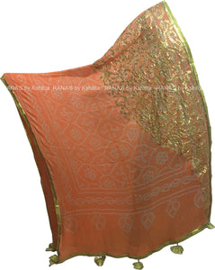 Peach Bandhani Dupatta in Gota Work - Rana's by Kshitija
