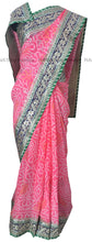 Peach Bandhej Saree with Pretty Border Work