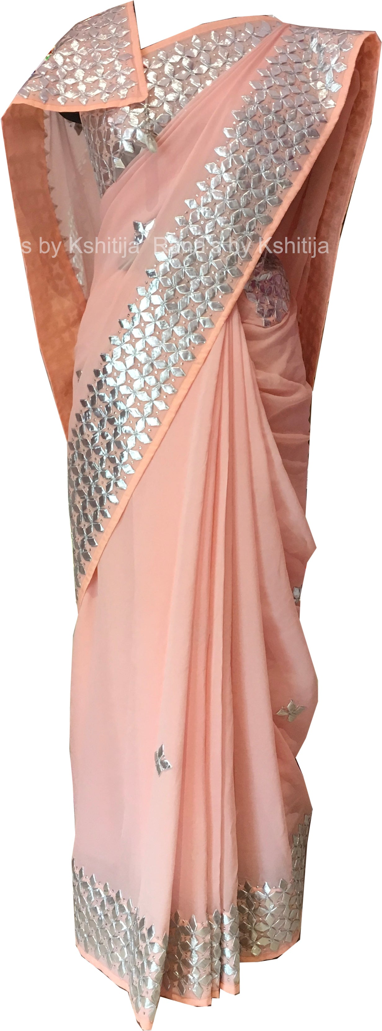Peach Pure Georgette Kacchi Patti Saree