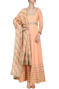 Peach Floor Length Rich Kalidar Dress