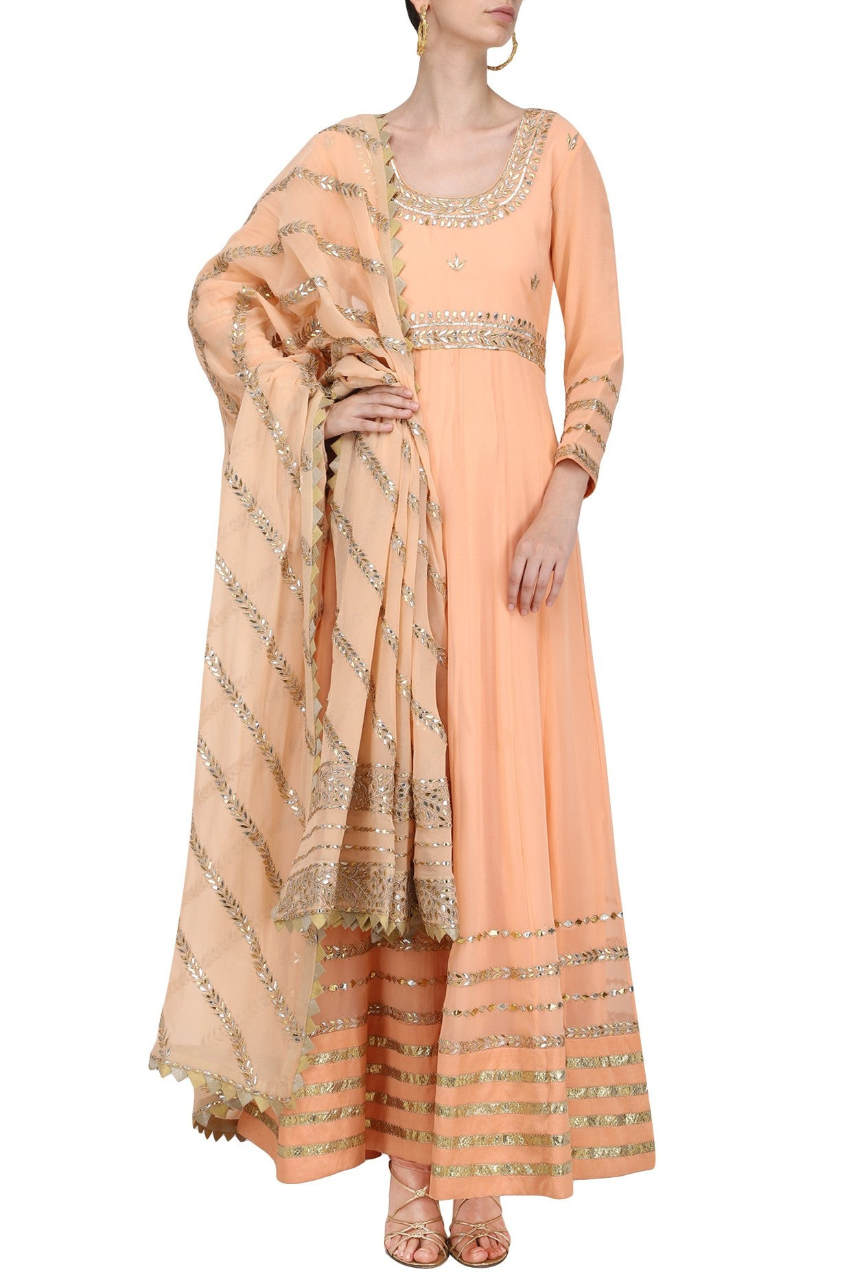 Peach Floor Length Rich Kalidar Dress - Rana's by Kshitija