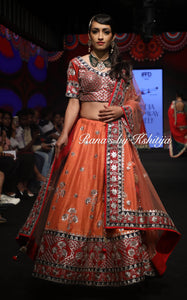 Coral Orange Lehenga Set in Pure Raw Silk and Pure Georgette - Rana's by Kshitija