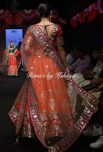 Coral Orange Lehenga Set in Pure Raw Silk and Pure Georgette