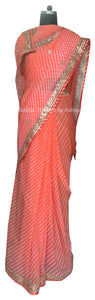 Orange Leheriya Saree With Danka Gota Work - Rana's by Kshitija