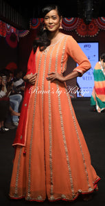 Peach Pure Georgette Kalidar Set