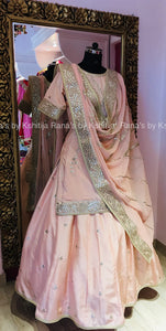 Pretty Peach Kurti Skirt Dress in Gota Handwork