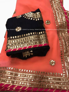 Peach and Black Gota Patti Saree