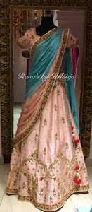 Pearl pink and Light Blue Lehenga Set - Rana's by Kshitija