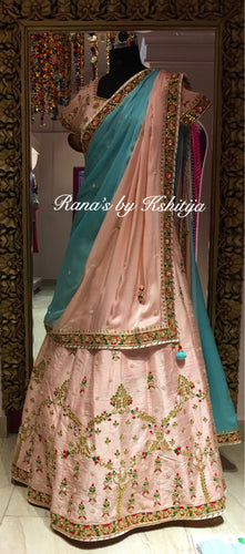 Pearl pink and Light Blue Lehenga Set